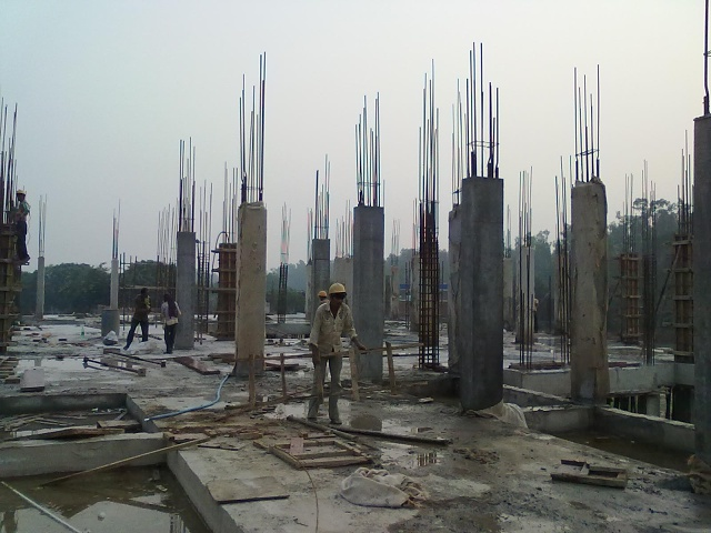Nov 13 - curing of roof of academic block with water