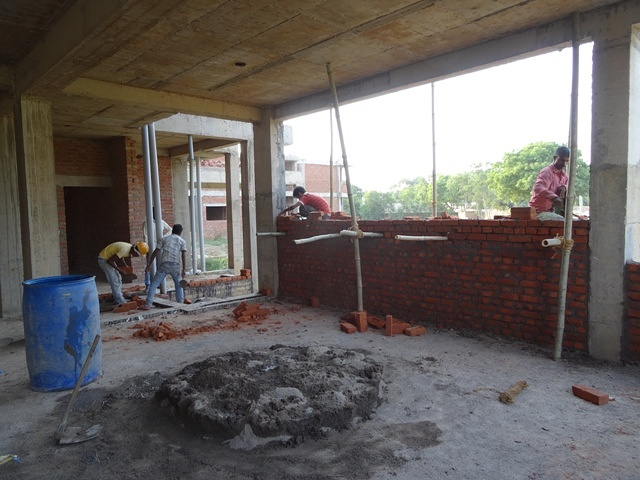 Brickwork in classroom July 14